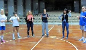 Jamie (center) illustrates how seeing people as people helps in basketball too.