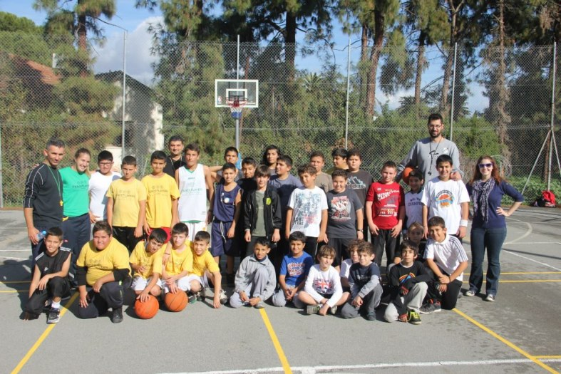 Two PeacePlayers Teams, one Turkish-Cypriot and one Greek-Cypriot, pose together during a recent Twinning