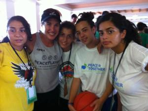 Ashley with PeacePlayers children at the 2012 Summer Camp