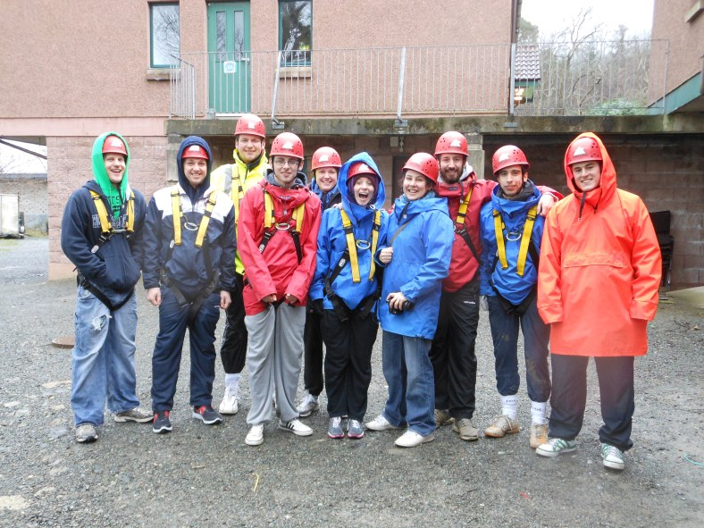 Despite the weather, ten part-time and full-time PPI-NI staff members get ready for some outdoor activities at a recent residential.
