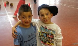 A Jewish mini from Keshet and an Arab mini from Beit Safafa having a blast working together