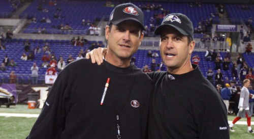 Two brothers, San Francisco 49ers head coach Jim Harbaugh and Baltimore Ravens head coach John Harbaugh, will face each other in this Sunday's Super Bowl