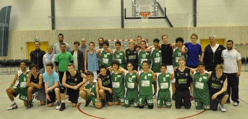 The PeacePlayers team with their finals opponents in Bergan, Norway