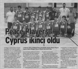 "The trip has been making headlines in the local news. This article -""PeacePlayers Cyprus Finish Second"" - is from a Turkish-Cypriot newspaper."