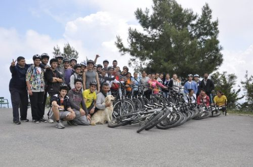 PeacePlayers-Cyprus team bike ride to the Kantara Castle built in the 10th century