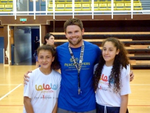 Jack and two Druze girls from Usaphiya at a Peace League tournament