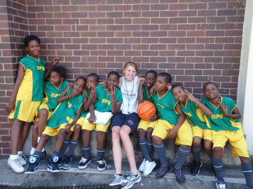 South Africa International Fellow, Kristin Degou, during a basketball practice with her PeacePlayers team
