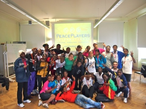 UNOSDP leaders with PeacePlayers' facilitator Ashley Johnson