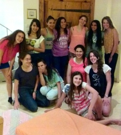 The girls celebrating their season at the end of the year slumber party!