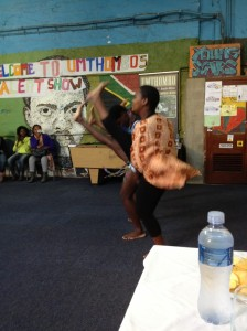 Participants showing off their impressive Zulu dancing at the talent show