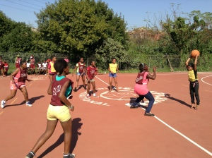Participants from visiting areas of Lamontville and Wentworth in action at the Waterloo tournament