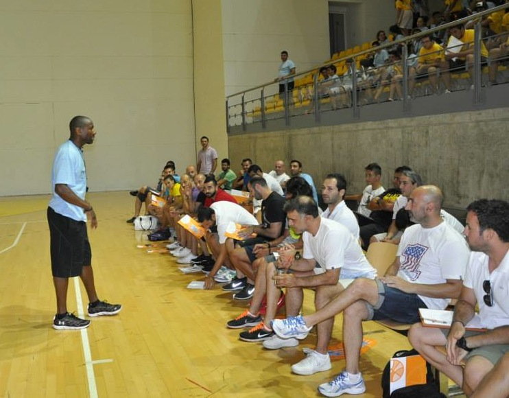 Brooklyn Nets Coach, Doug Overton, speak with 42 Cypriot basketball coaches