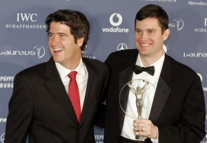 Founders of education programme Peace Players International, Sean (L) and Brendan Tuohey of the U.S., display their Laureus Sport for Good Award in the Mariinsky Theatre in St Petersburg February 18, 2008.      REUTERS/Alexander Demianchuk (RUSSIA)