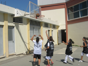 The blazing sun in Cyprus couldn't stop these girls from playing some serious basketball after the day's presentations.
