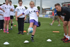 Brooklyn O'Hare in action at the Rugby Skills station.