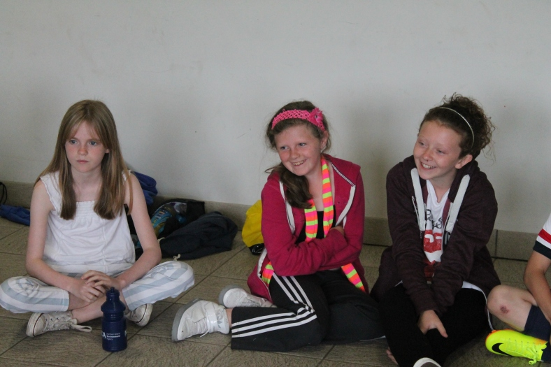 Celina, Megan & Leah take part in a community relations game at the Belfast Interface Games.