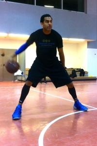 Blu teaching ball-handling drills