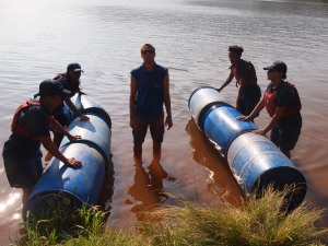 PPI-SA coaches build rafts on the lake during last year's Laureus YES retreat at Shongweni. PPI-SA staff and coaches will be doing similar team-building activities during our training camp this year.