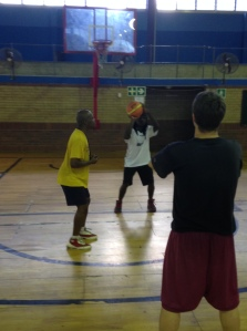 Ntobeko teaching the coaches how to coach shooting.
