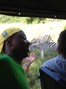 Coach Yamkela Nako points out some zebras on the game drive.