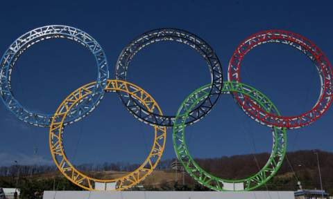 The Olympic rings standing outside of Sochi International Airport