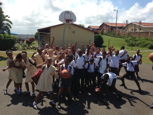 Boys and girls pose for a picture during tryouts at Collingwood Primary School in Wentworth last week.