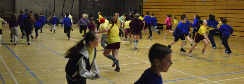The children warm up before taking part in Basketball games!