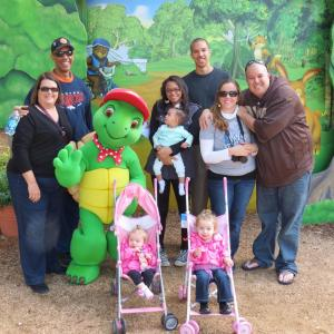 The Franklin family with Franklin the Turtle at Sea World.