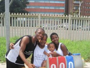 Precious (far right) during her days on the PeacePlayers LDP team in Lamontville.