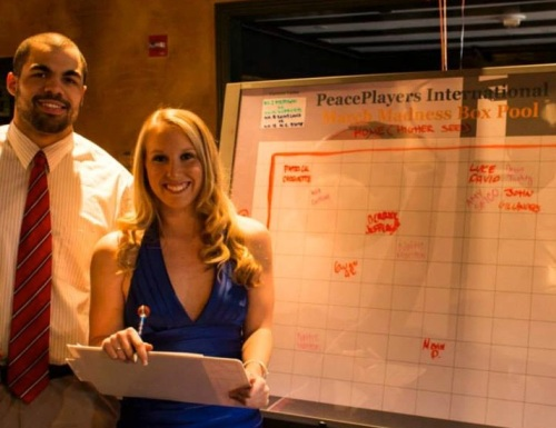 Shad (left) with former intern, Kim Doyle, at the 2014 PeacePlayers Party for Peace Fundraiser in Washington, DC