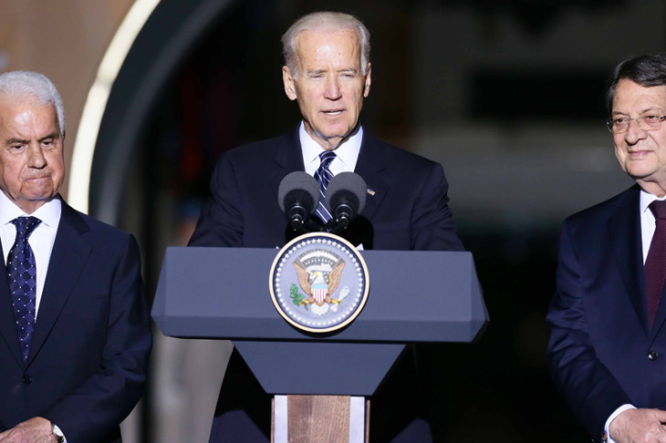 Final statements by Joe Biden at the Ledra Palace with President Anastasiades and Dervis Eroglu