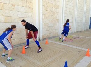 Jack coaching the Tamra/Nahariya girls during a drill at the Springfest tournament