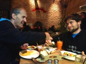 Jack sharing breakfast at dinner with Basketball Operations Manager Vito Gilic