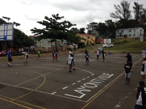 A fresh paint job on the court serves as a nice touch to welcome back the Lamontville LDP Programme.