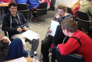 Tucker (east), Niamh (north) and Geordie (west), all working together on their community projects.