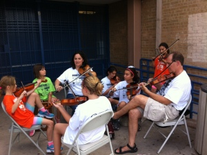 A group of musicians welcomed the children every morning to the camp!