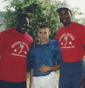 Brian at the age of 12 with NFL players Al Toon and Leonard Marshall.