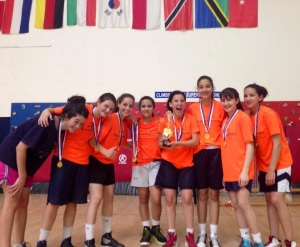 Hadas (second from left) at this year's Peace League at the American International School in Even Yehuda.