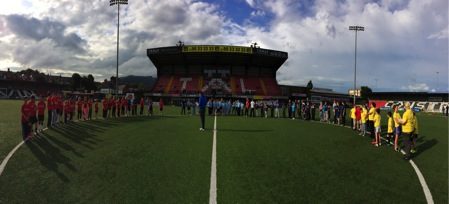 PPI-NI participants getting ready to start the Belfast Interface Games at Seaview stadium