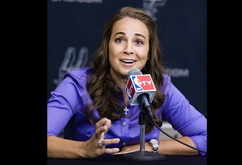 Hammon speaking to the press about her new role as Spurs assistant coach
