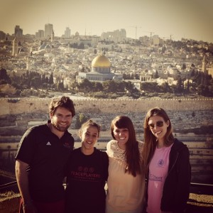 Jack, Heni, Samantha Dols of the World Lens Foundation and I catching the sights of Jerusalem