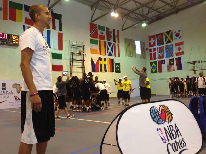 Peace Player Bryan Franklin looking over the top 60 young talents from Africa