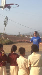 Benjamin Constable coaching his first day at Collingwood Primary School
