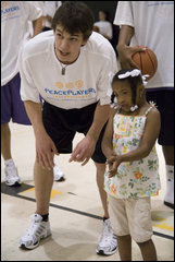 Benjamin Constable coaching New Orleans' youth during his first experience with PPI
