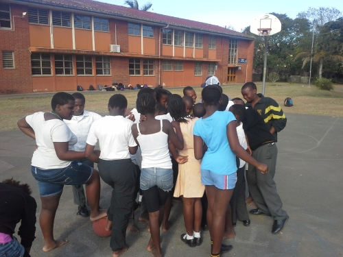 Excelsior Primary School huddling up after a recent practice