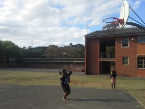 Aphiwe shooting around before a recent practice