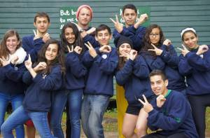 Heba (far right) poses with campers at the Seeds of Peace Camp this past summer.