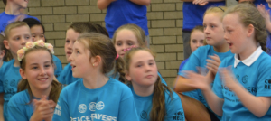 Students from Holy Cross Primary School and Wheatfield Primary School prepare for the Super Sports Day competition.