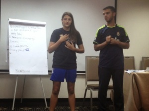 Palestinian and Israeli participants practicing English exercises