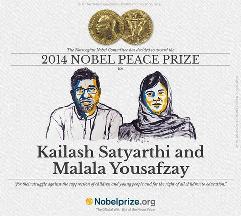 The Nobel Peace Prize for 2014 was awarded to two campaigners for children's rights, Kailash Satyarthi of India and Malala Yousafzay of Pakistan.Credit N. Elmehed, Nobel Media 2014